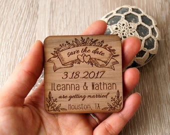 Wedding save the dates, wooden save the date magnets, engraved wedding magnets, rustic save the dates, set of 25.Save the date magnets.