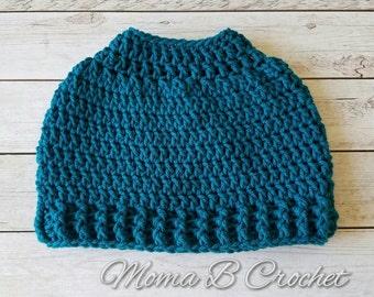 Crochet Messy Bun Hat, Messy Bun Hat, Messy Man Bun Hat, Pony Tail Hat, Pony Tail Beanie, Man Bun