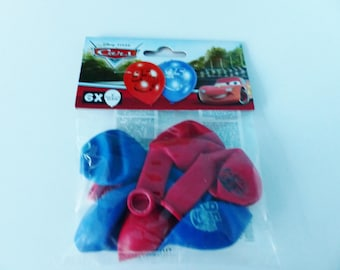 6 balls of blue and Red Cars balloon