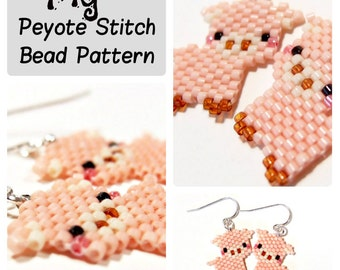 Pig - Seed Bead PATTERN, Peyote / Brick Stitch - DIY beaded charm, earrings, pendants - Animal Bead Patterns