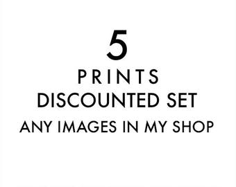 set of 5 fine art prints, any images in my shop printed, discounted set, 8x8, 5x5, 11x14, photography prints, nursery wall art, your choice