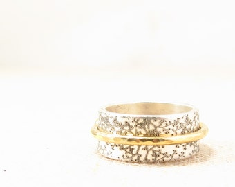 Clothing Gift - Gift for Women - Spinner Ring  -  Mixed Metal Jewelry - Silver Engraved Ring