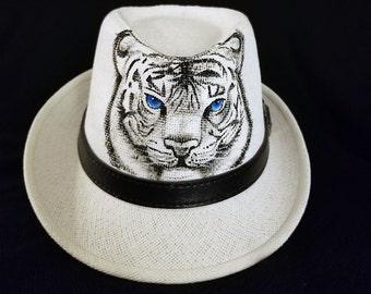 Hand Painted Fedora / Panama Summer Straw Hat - White Tigress