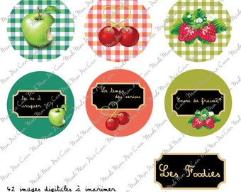 """Digital images for cabochons """"LES FOODIES"""" (42 images) to cut and stick on your creations"""