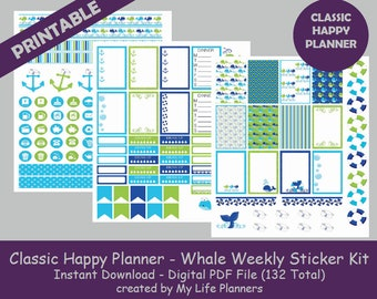 Whale Theme CLASSIC Happy Planner Printable Stickers, Weekly Kit, Planner Kit, Planner Stickers, CLASSIC Happy Planner, Instant PDF Download