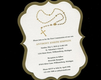 First Communion Invitation - Rosary - Gold - Communion Invitation - First Holy Communion - Personalized - Gender Nuetral - Twins