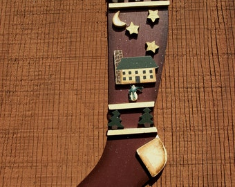 WOODEN CHRISTMAS STOCKING-3 D Wall Hanging- Primative