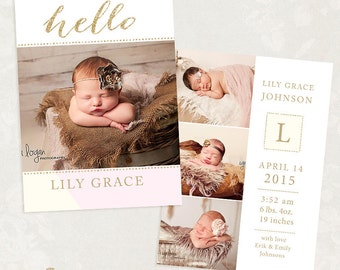 Birth Announcement Template for Photographers - 5x7 Photo Card - Sweet Baby 20 - ID239, Instant Download