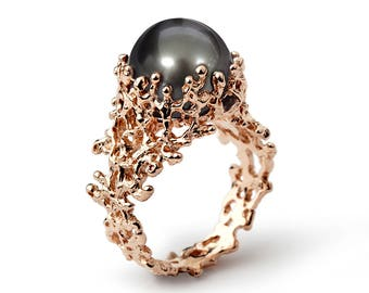CORAL Tahitian Pearl Ring, Rose Gold Pearl Engagement Ring, Black Pearl Engagement Ring, Rose Gold Ring, Unique Pearl Ring