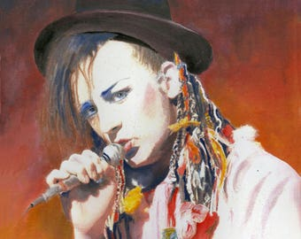 """BOY GEORGE, Culture Club - Original Ink and Watercolour painting - 7"""" x 7"""""""
