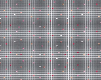 Lovebug Grid Gray Cotton Fabric by Riley Blake in Yard 3/4 Half and 1/4  Quilting Sewing Applique Valentines Day Fabric Pink Red Hearts