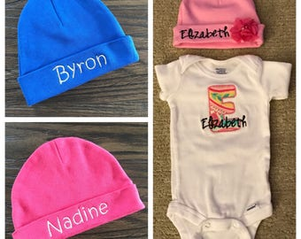 Embroidered baby hats