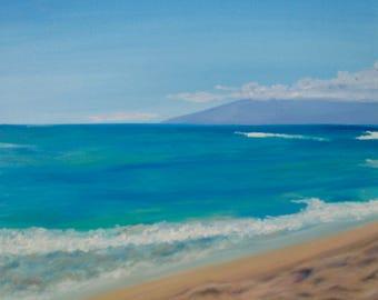 "Kaanapali beach in Maui, original oil painting on canvas, 20""x20"""