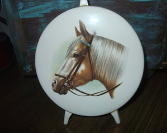 Ceramic Painting of a Brown Horse