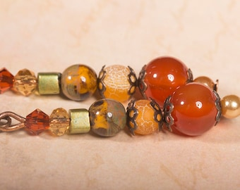 Carnelian and frosted orange agate earrings