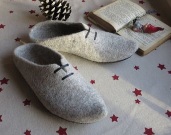 Ready EU 43 (US 10) Organic wool clogs, leather sole,felted slippers,elf slippers,dutch clogs ECO, wool clogs, valentines day gift
