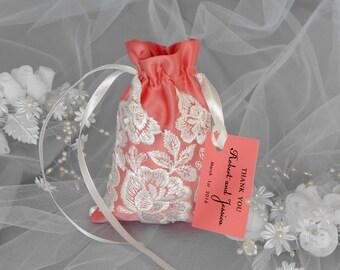Peach Echo and White Wedding Favor Bag, Favor Bag with Tag, Quantity 20, Lace Wedding Favor Bags, Seafoam Wedding Favor Bags