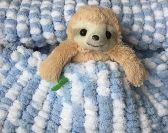 Baby Blue Pom Pom Baby Blanket