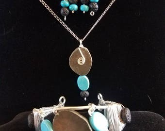 Pyrite, turquoise and lava stone jewellery set