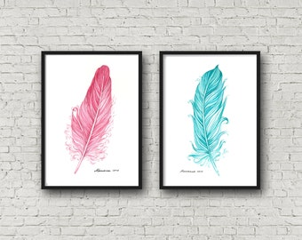 Watercolor Feather Set of 2 Feather Artwork 5 x 7 Original Feather Painting Feather Watercolor Card Feather Wall Art Feather Wall Decor