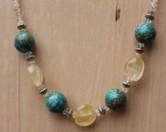 Mosaic Turquoise & Citrine Necklace