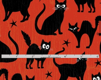 Orange & Black Cat Fabric, Glow in the Dark, Henry Glass Fabric  Fangtastic with Glow 1096G 30, Halloween  Fabric, Cat Quilt Fabric, Cotton