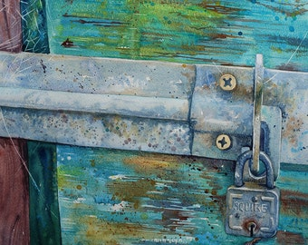 Original abstract watercolour, peeling paint, rustic art, weathered wood, shabby chic art, antique padlock,contemporary watercolor art