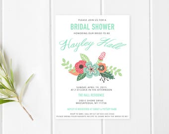 Bridal Shower Invitation, Bridal Shower Invites, Floral, Bridal Shower, Shower Invitations, Bridal Shower Invitations with Flowers [208]