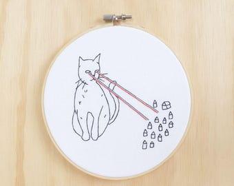 Cat Attacks Hand Embroidered  Hoop Art, Wall Art