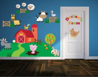 Farm Wall Decals - Name Wall Decal - Farm Animal Wall Art - Farm Theme Nursery - Wall Decals for Kid's Bedroom