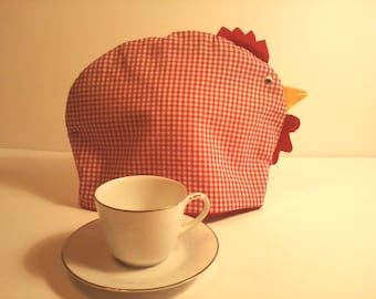 Tea Cozy Chicken Hen Country Farmhouse Red Gingham Fun Whimsical Tea Time