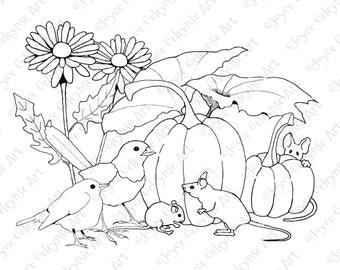 Coloring for Adults, Pumpkins, Mice and Birds, Flowers, Hand Drawn Stamp Art, Simple Coloring Page, Commercial Use, INSTANT DOWNLOAD