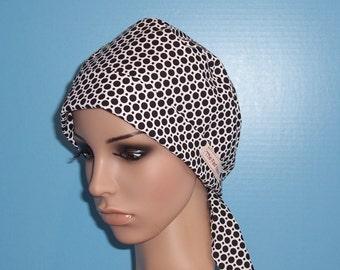 Black Polka Dot Pixie Chemo Chef Surgical Scrub Hat Cap