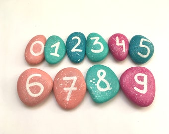 Number stones painted Math learning toy Educational gift for boy girl Learn to count Numbers story stones Back to school Colorful numbers