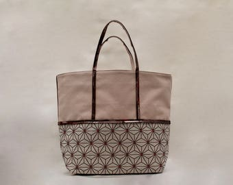 The bi-color Taupe cotton and printed Rosase Tote with Brown-Taupe sequins