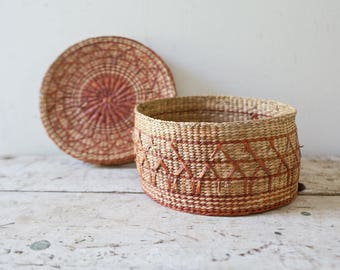 Woven African Vintage Basket with Lid  - Wicker Woven Wooden Natural Brown Tan Basket Fruit Basket Container