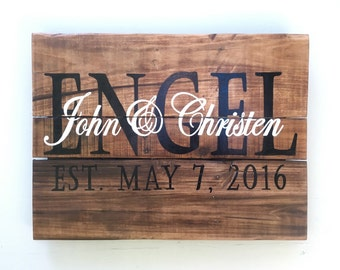 Wood Sign, Reclaimed Wood Sign, Stained and Personalized Name/Established Sign