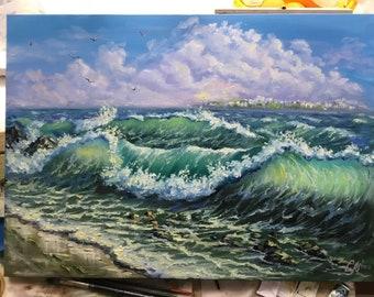 Large oil painting ocean waves painting beach decor seascape painting blue coastal landscape painting canvas art storm sea art impressionist