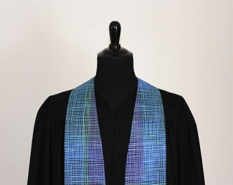 """Clergy Stole, Blue Lines #280, Pastor Stole, Minister Stole, 54"""" Length, Clergy Wear, Vestments, Church"""