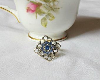 Blue Swarovski Crystal Ring - Jewelry For Women Jewellery Gift - Diamond Square Flower Silver - Adjustable Cocktail Midi