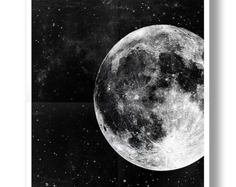 Moon Poster,Full Moon,Moon Art,Black and White,Astronomy Art.NO,275b