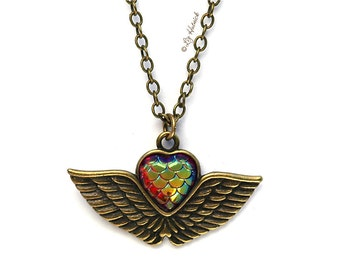 Brass Winged Heart Necklace with Mermaid Heart Caboichon. Boho Chic