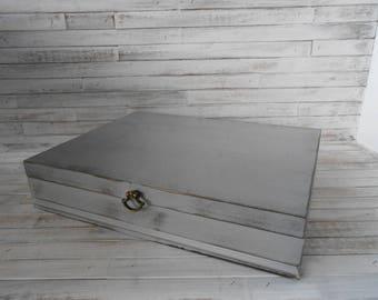 Silverware Storage Box - Flatware Storage Box - Vintage Silverware Storage Box-Gray Silverware Storage Box - Vintage Silverware Storage