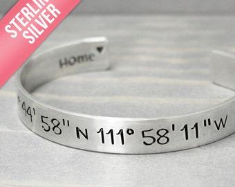 Wide Silver Coordinate Cuff, Silver Cuff, Coordinate Bracelet, Custom Coordinates, Coordinate Cuff, Personalized Jewelry