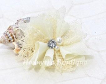 "Elena Chiffon Lace : IVORY Cream 2.5"" inch Lace Mesh Flowers rhinestone Pearl Center Puffy Flowers. DIY Hair accessories Supplies"