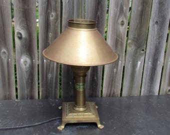 Vintage Paris Istanbul Brass Oriental Express Lamp with Glass Chimney