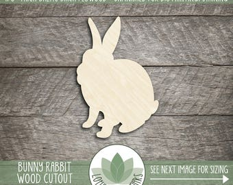 Bunny Rabbit Wood Cut Shape, Unfinished Wood Easter Bunny Laser Cut Shape, DIY Craft Supply, Many Size Options, Blank Wood Shapes