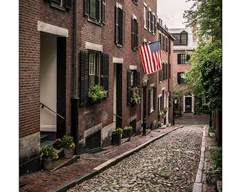 Boston Photography, Acorn Street, Beacon Hill, New England Photo Print