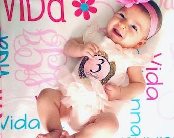 Personalized Girl Baby Blanket - Monogrammed Receiving Blanket - Custom Name Baby Blanket - Newborn Swaddling Blanket - Baby Photo Prop