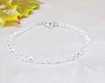 Clear AB Crystal Bracelet Clear Crystal Bracelet 100% 925 Sterling Silver Bracelet Bridesmaid Bracelet BuyAny3+Get1Free